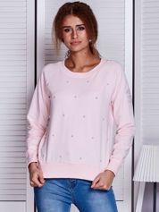Różowa bluza z perełkami