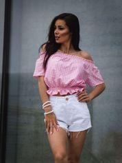Różowa bluzka hiszpanka w kratkę