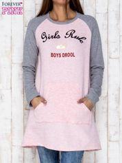 Różowa dresowa sukienka tunika z napisem GIRLS RULE