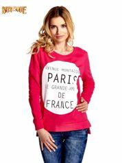Rózowa klasyczna bluza damska z napisem AVENUE MONTAIGNE