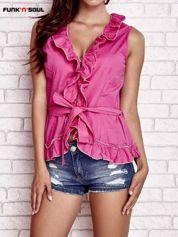 Różowa koszula z wiązaniem i falbankami FUNK N SOUL