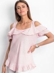 Różowa lniana bluzka z falbanami