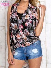 Różowa warstwowa bluzka koszulowa w kwiaty