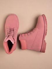 Różowe jednolite buty trekkingowe damskie Westie traperki ocieplane