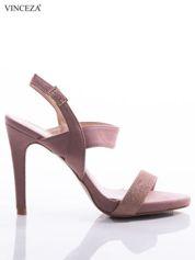 Różowe sandały Vinceza z ozdobnymi brokatowymi paskami na przodzie