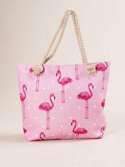 Różowo-beżowa torba na zakupy we flamingi