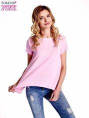 Różowy asymetryczny t-shirt
