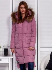 Różowy ocieplany płaszcz z futrzanym kapturem