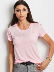 Różowy t-shirt z aplikacją