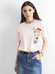 Różowy t-shirt z kotem i aplikacją
