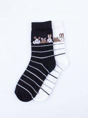 Skarpetki damskie czarny-biały zwierzątka zestaw 2 pary
