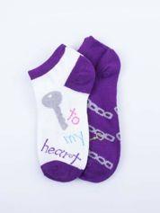 Skarpetki damskie stopki fiolet-biały dziewczęce zestaw 2 pary