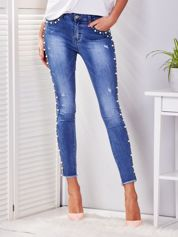 Spodnie jeansowe niebieskie z perełkami