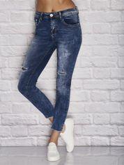 Spodnie jeansowe z wstawkami w groszki niebieskie