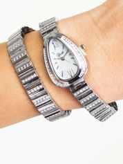 Srebrny zegarek damski na podwójnej bransolecie
