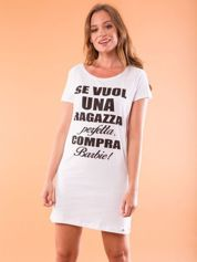 Sukienka bawełniana z napisami biała