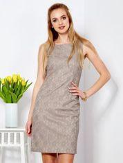 Sukienka ciemnobeżowa z wycięciem z tyłu