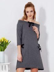 Sukienka ciemnoszara z kokardkami