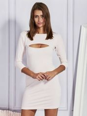 Sukienka dresowa z wycięciem jasnoróżowa