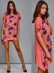 Sukienka dzienna oversize w kwiaty z cekinami koralowa