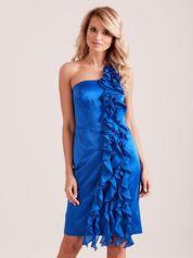 Sukienka koktajlowa na jedno ramię kobaltowa
