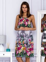 Sukienka letnia w kolorowe kwiaty szara