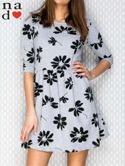 Sukienka w kwiaty szara
