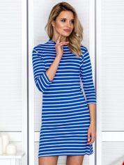 Sukienka w paski z suwakiem niebieska