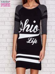 Sukienka z napisem OHIO LIFE ciemnoszara