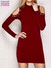 Sukienka z wycięciami na ramionach i półgolfem bordowa