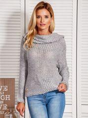 Sweter damski z szerokim kołnierzem szary