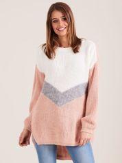 Sweter oversize color block jasnoróżowy