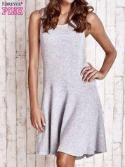 Szara asymetryczna sukienka z falbaną