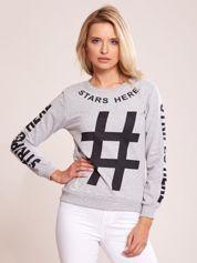 Szara bawełniana bluza z nadrukiem hashtaga