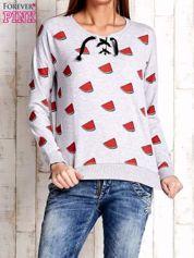 Szara bluza w arbuzy z wiązaniem