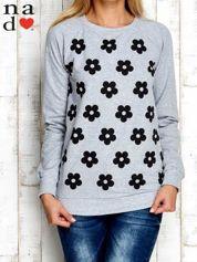 Szara bluza z nadrukiem kwiatów