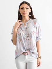 Szara bluzka w delikatny kwiatowy deseń