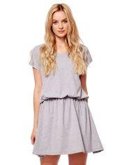 Szara sukienka V-neck z gumką w pasie