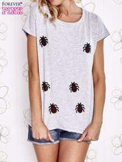 Szara t-shirt z aplikacją owadów