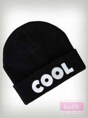 Szara wywijana czapka z napisem COOL