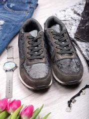 Szare buty sportowe textile Magnate z wstawką z efektem rybiej łuski