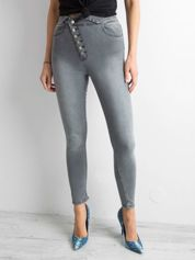 Szare jeansy skinny high waist