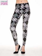 Szare legginsy w patchworkowe wzory w kratę