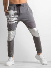 Szare męskie spodnie dresowe z nadrukiem
