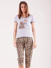 Szaro-brązowa piżama damska z motywem zwierzęcym
