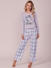 Szaro-niebieska piżama z motywem kratki