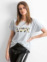 Szary luźny t-shirt Lovers