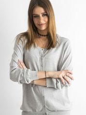Szary sweter z metaliczną nicią
