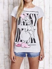 Szary t-shirt z nadrukiem DAISY