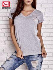 Szary t-shirt z naszywką
